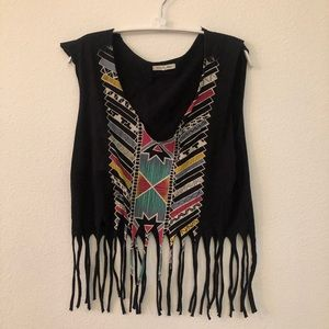 Urban Outfitters Tops - UO tribal print black fringe crop top